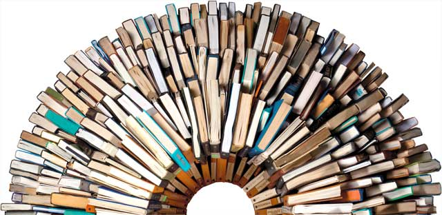 image of books in a circle